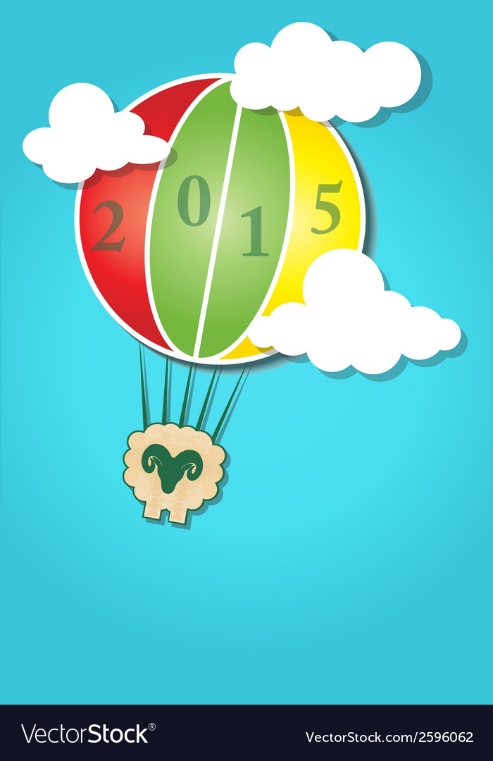 Hot air balloon in the sky and happy new year vector | Price: 1 Credit (USD $1)