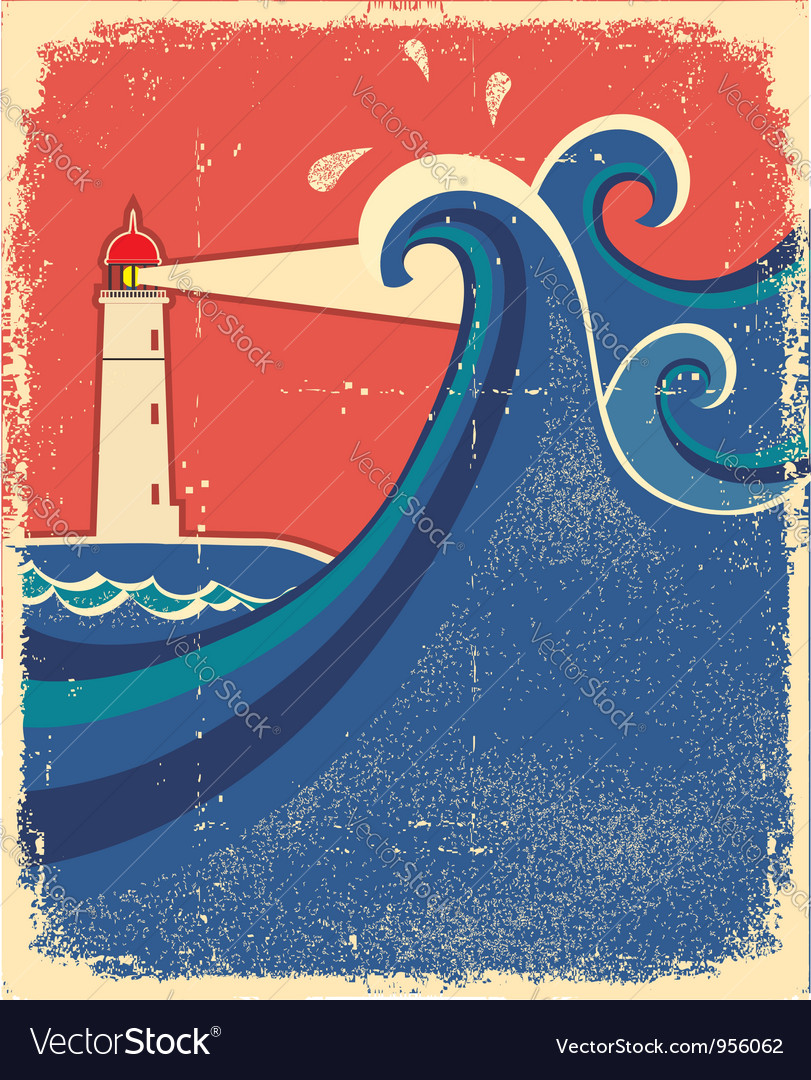 Lighthouse posterseascape background vector | Price: 1 Credit (USD $1)
