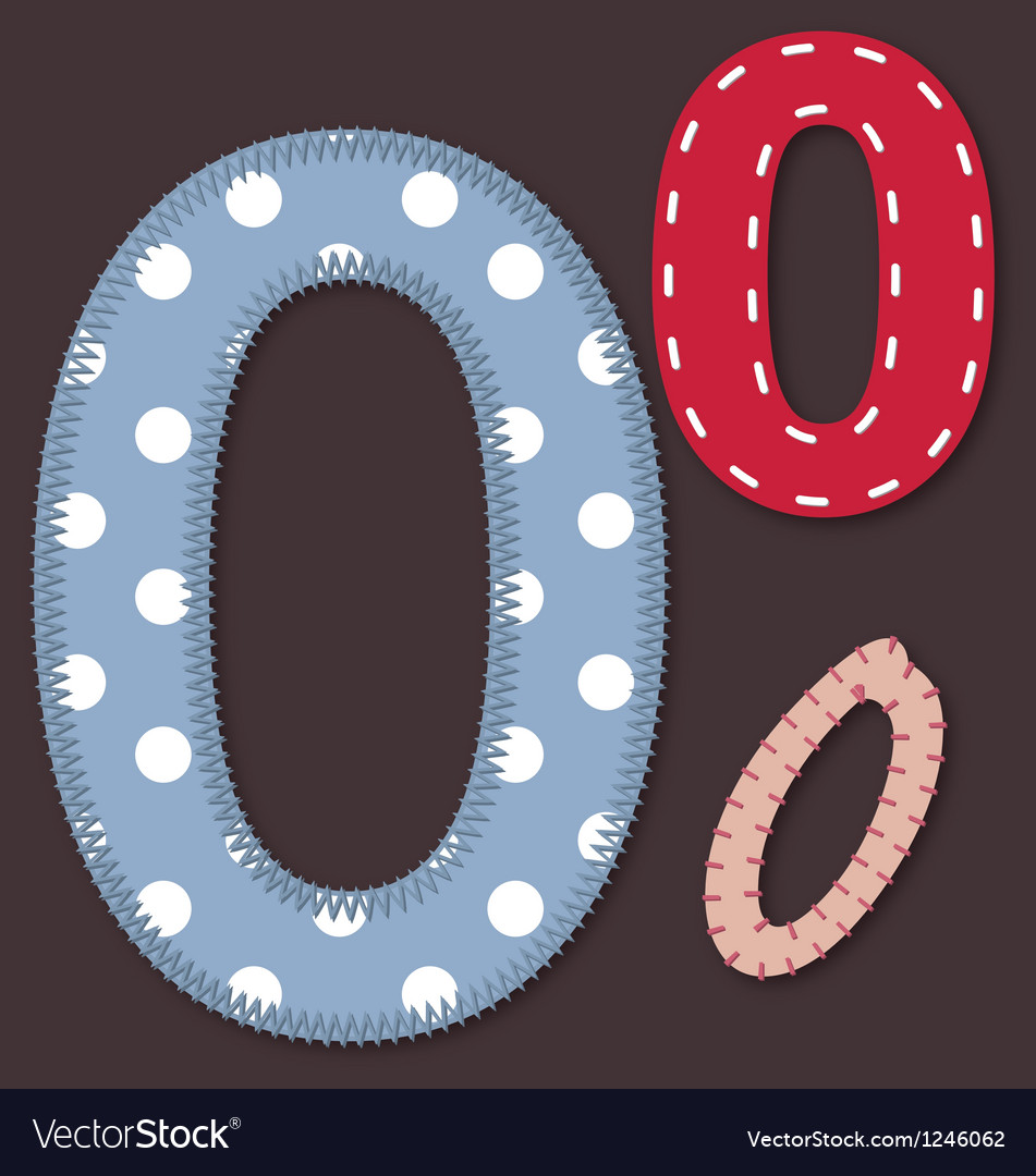 Set of stitched font - 0 zero vector | Price: 1 Credit (USD $1)