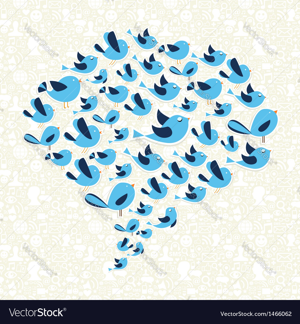 Twitting social birds campaign vector | Price: 1 Credit (USD $1)