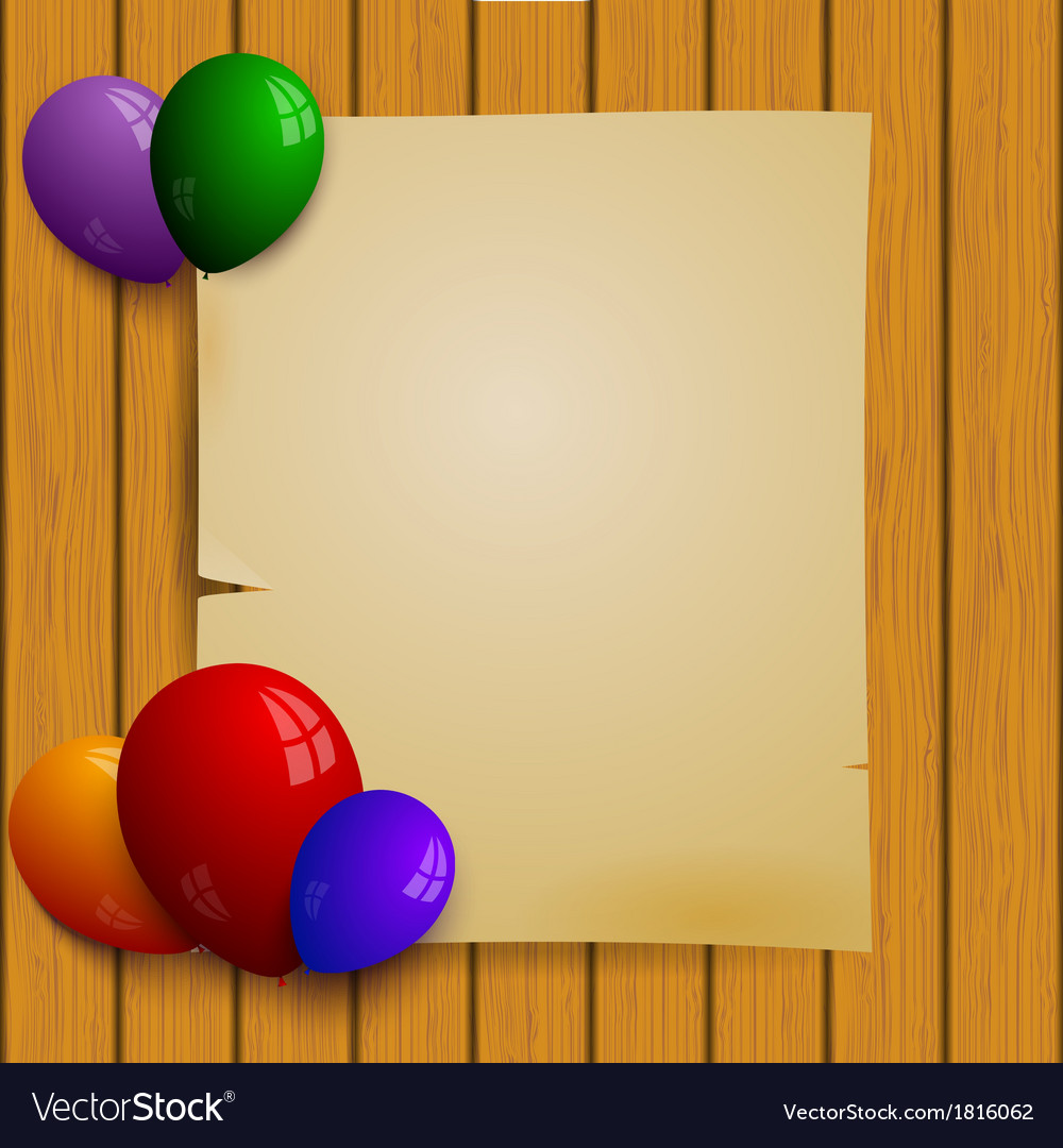 Wooden plank wall with a paper and balloons vector | Price: 1 Credit (USD $1)