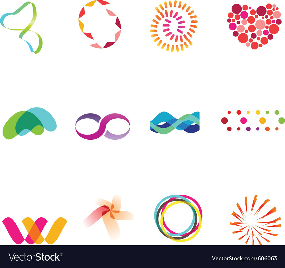 12 colorful symbols set 25 vector | Price: 1 Credit (USD $1)