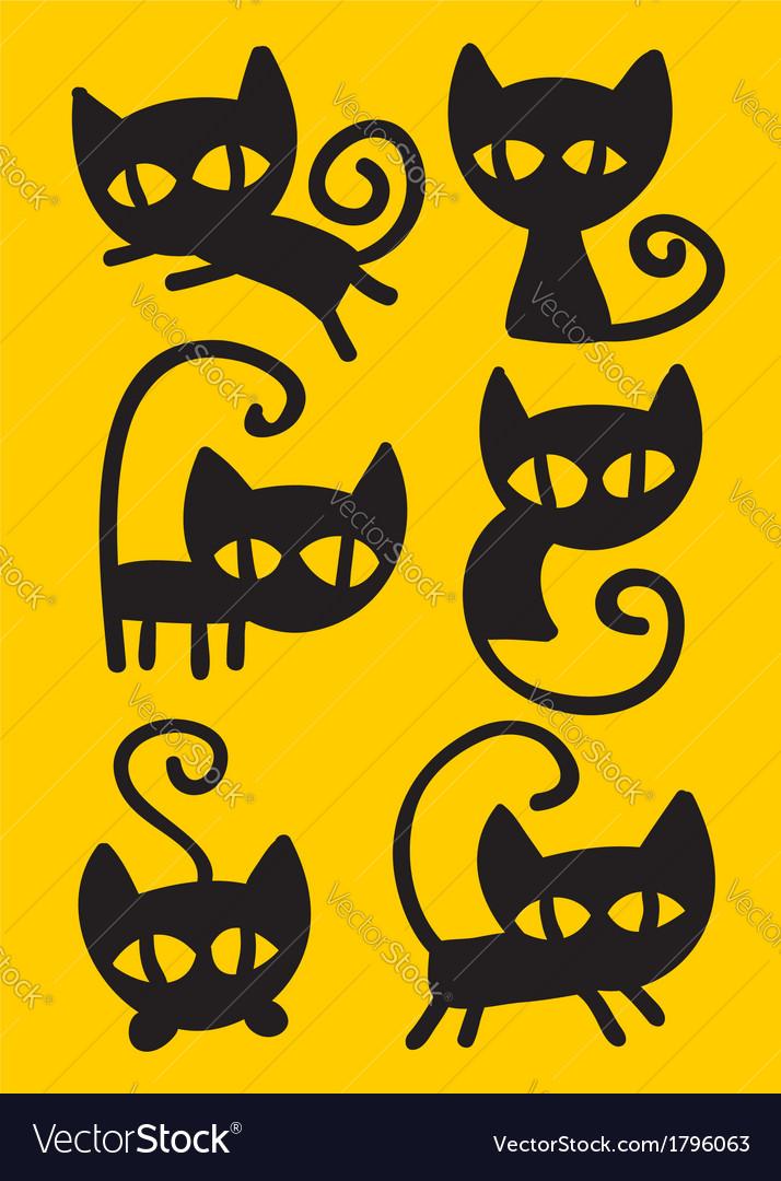 Black cat set vector | Price: 1 Credit (USD $1)