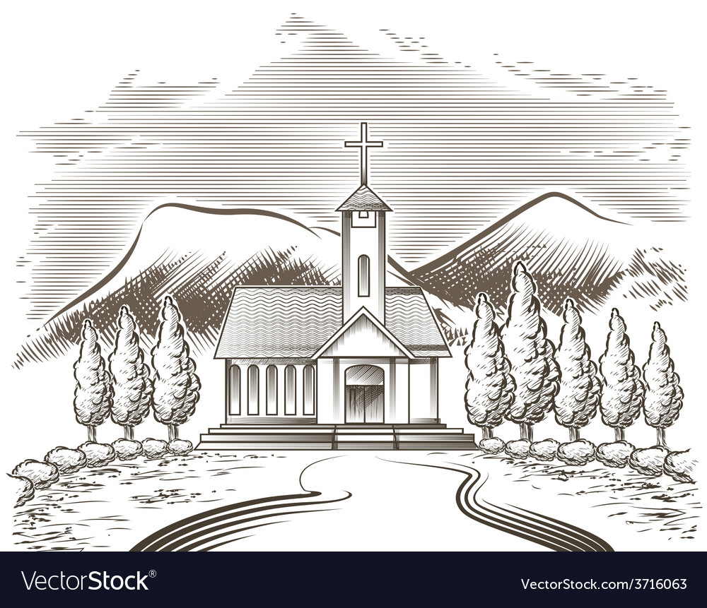 Church landscape vector | Price: 1 Credit (USD $1)