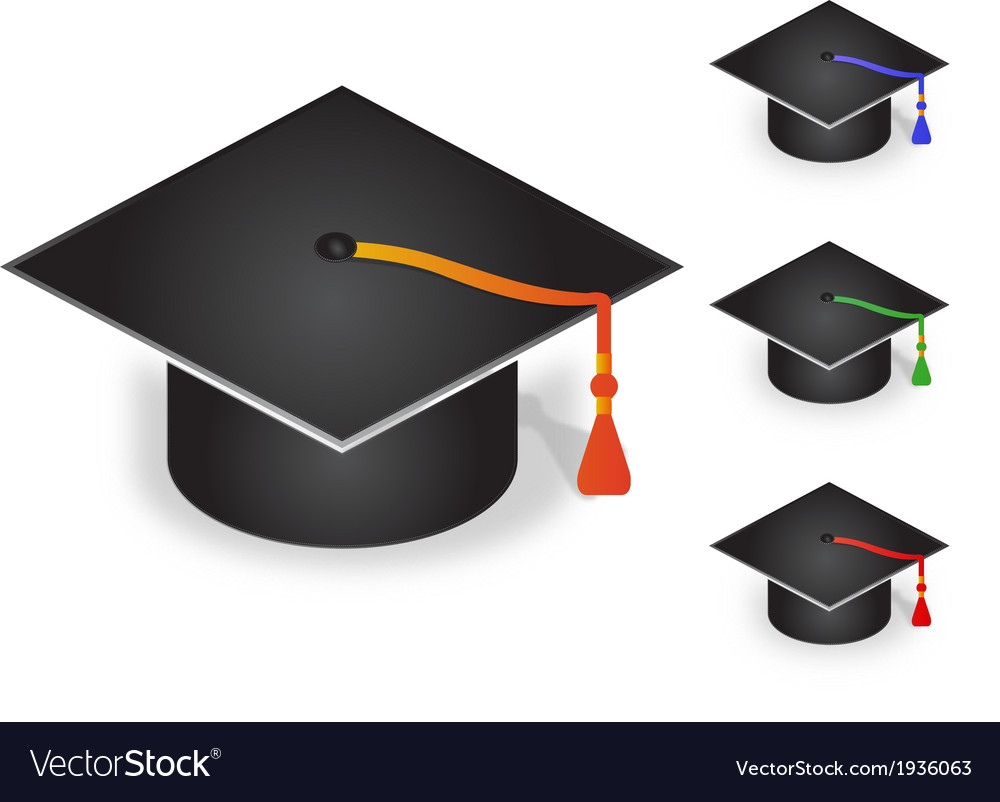 Graduation cap with four color tassel vector | Price: 1 Credit (USD $1)