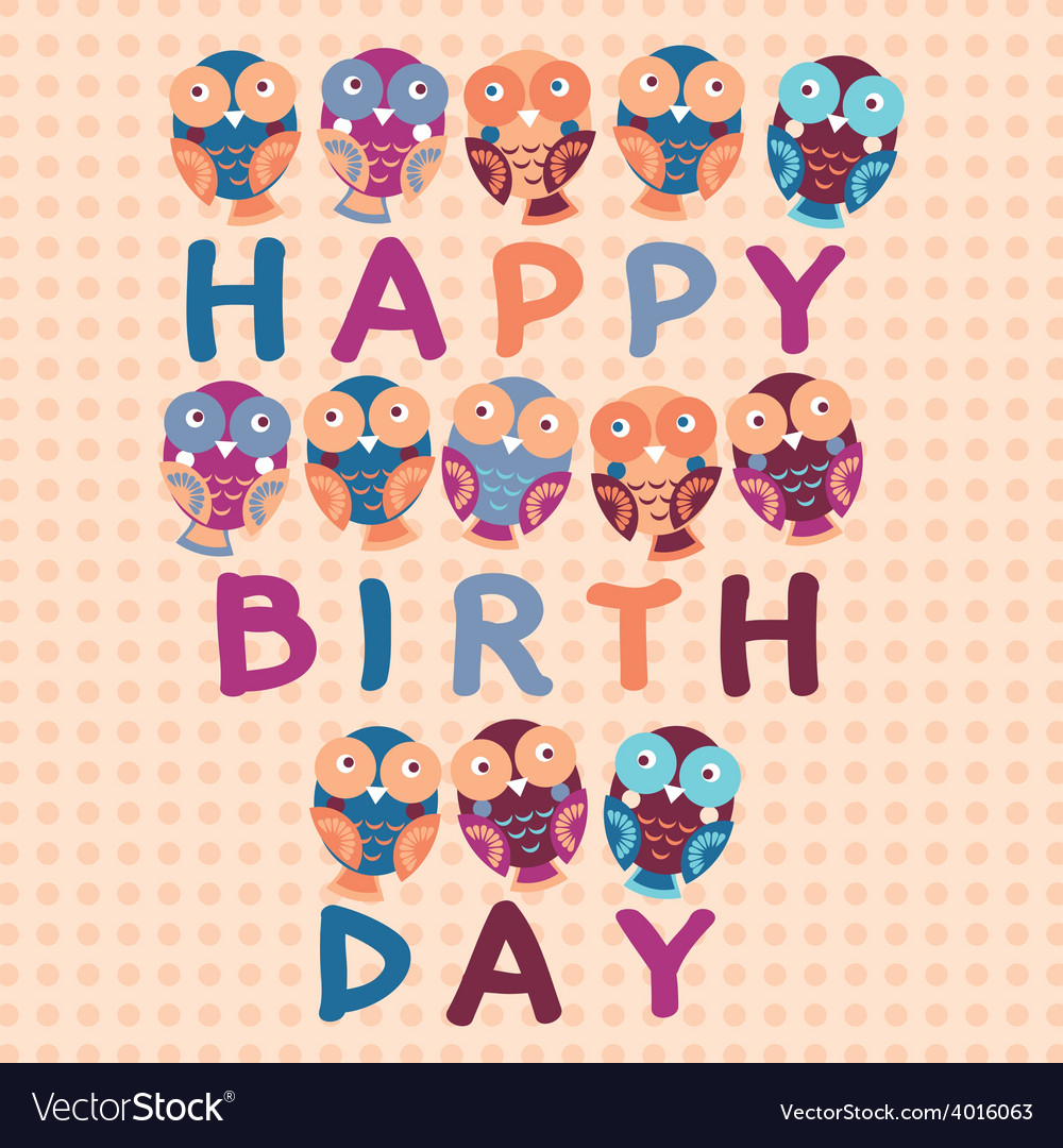 Happy birthday card cute owls blue pink purple vector | Price: 1 Credit (USD $1)