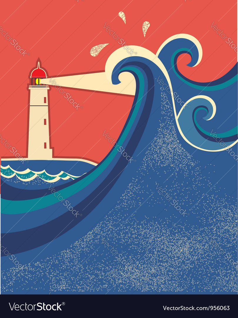 Lighthouse posterseascape color background vector | Price: 1 Credit (USD $1)