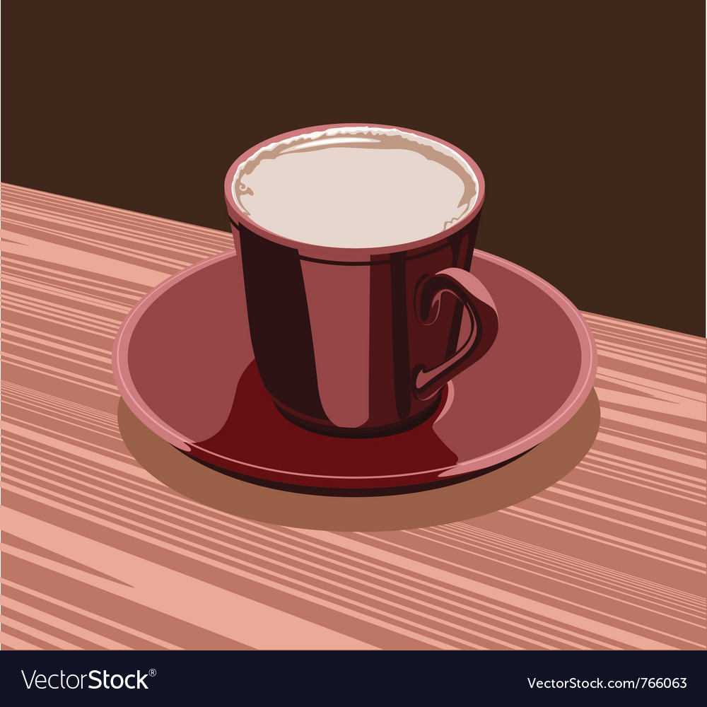 Scarlet cup of cocoa is on the a scarlet saucer vector | Price: 1 Credit (USD $1)