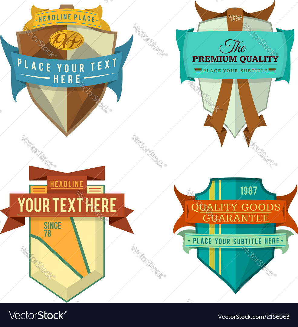 Set of logo retro ribbon labels and vintage vector | Price: 1 Credit (USD $1)