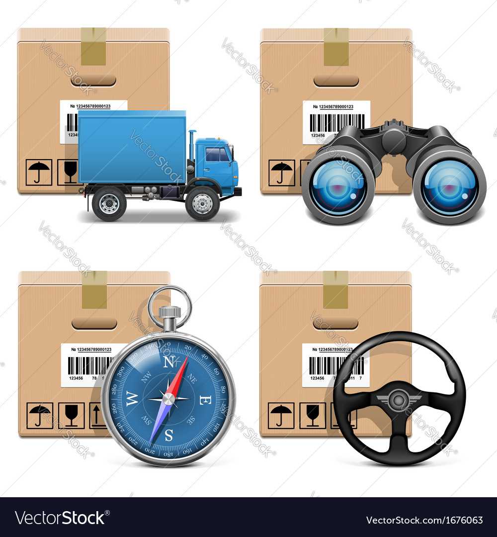 Shipment icons set 11 vector | Price: 1 Credit (USD $1)