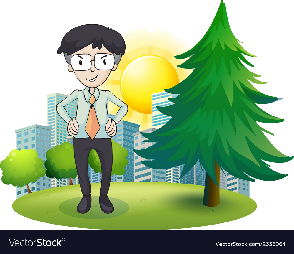 A man standing beside the pine tree vector | Price: 3 Credit (USD $3)