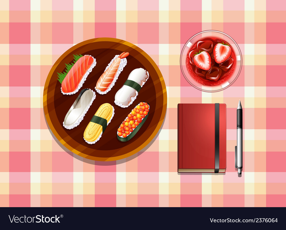 A table with sushi a cocktail drink a ballpen and vector | Price: 1 Credit (USD $1)