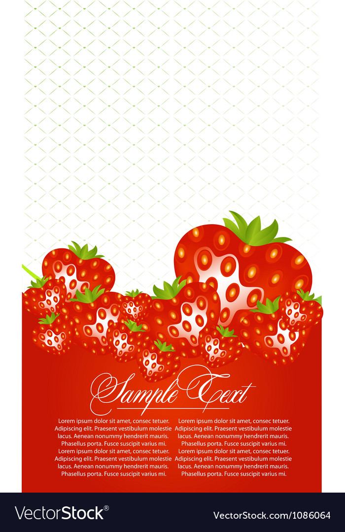 Abstract card with strawberry fruits vector | Price: 1 Credit (USD $1)