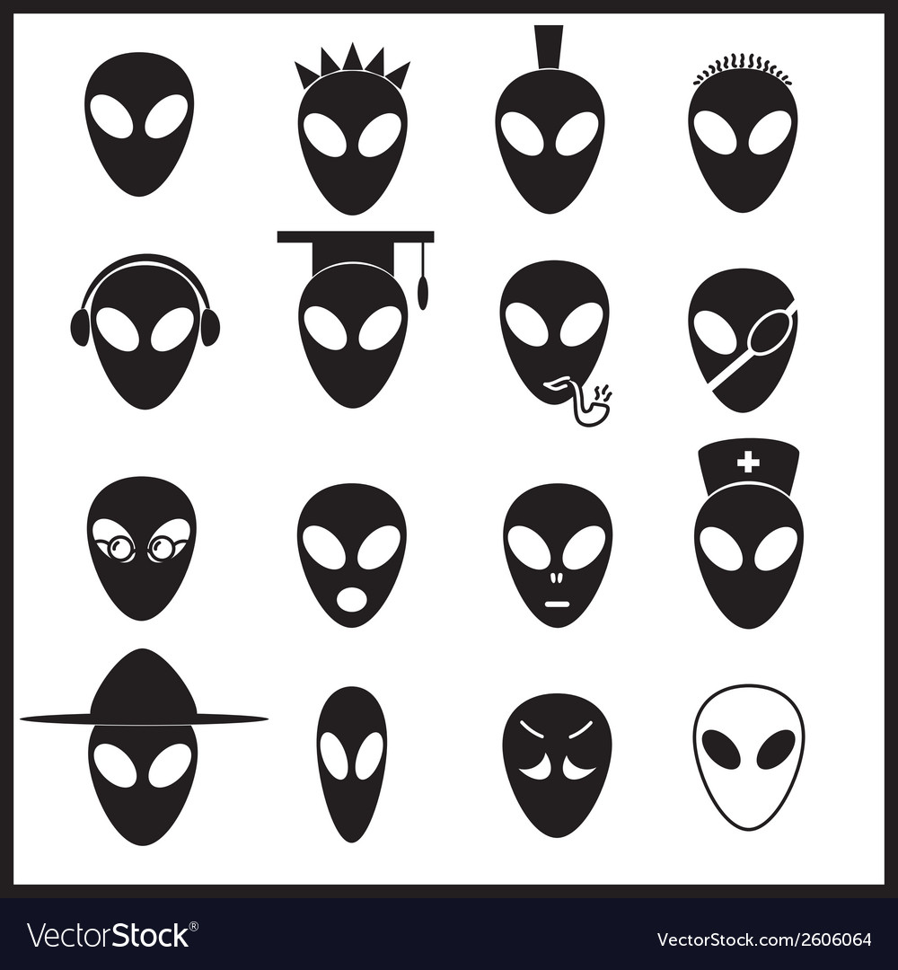 Alien icons set eps10 vector | Price: 1 Credit (USD $1)