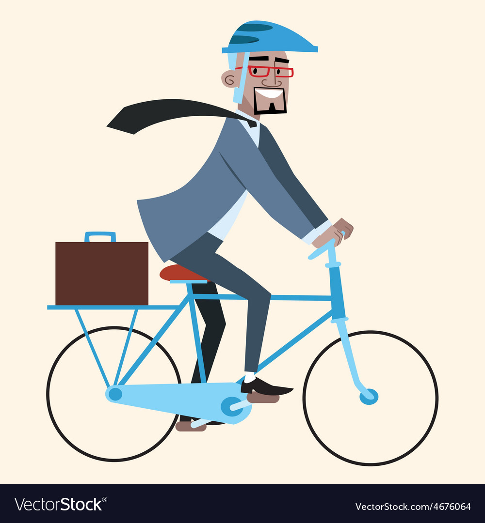 Black businessman on bike rides to work vector | Price: 1 Credit (USD $1)