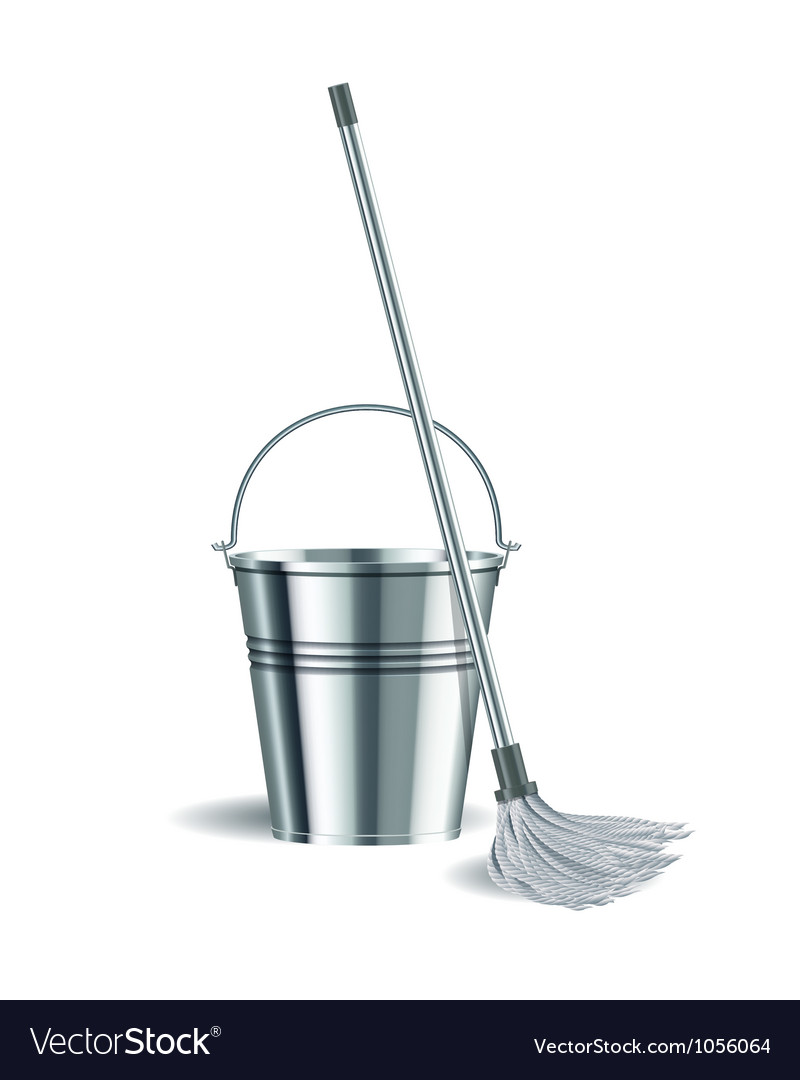 Bucket and mop on white background vector | Price: 1 Credit (USD $1)