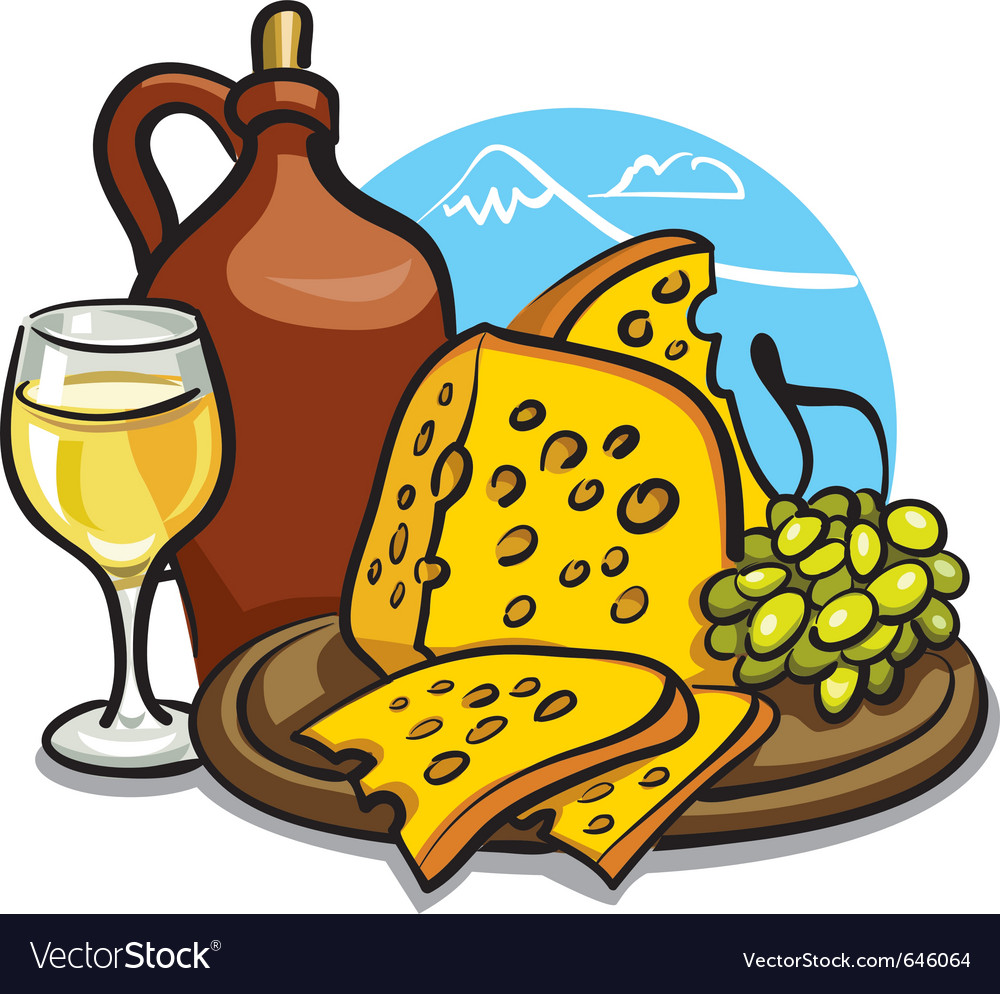 Cheese and wine vector | Price: 3 Credit (USD $3)