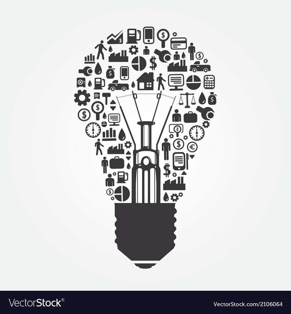 Elements are small icons make in light bulb vector | Price: 1 Credit (USD $1)