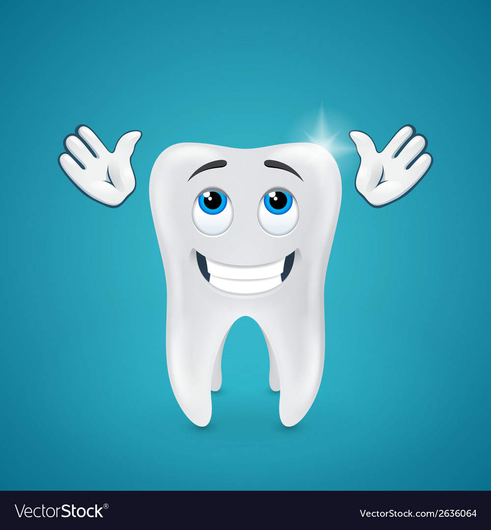 Happy shiny tooth hands raised looking up vector | Price: 1 Credit (USD $1)