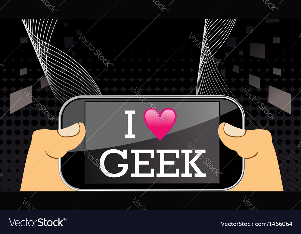 I love geek on mobile vector | Price: 1 Credit (USD $1)