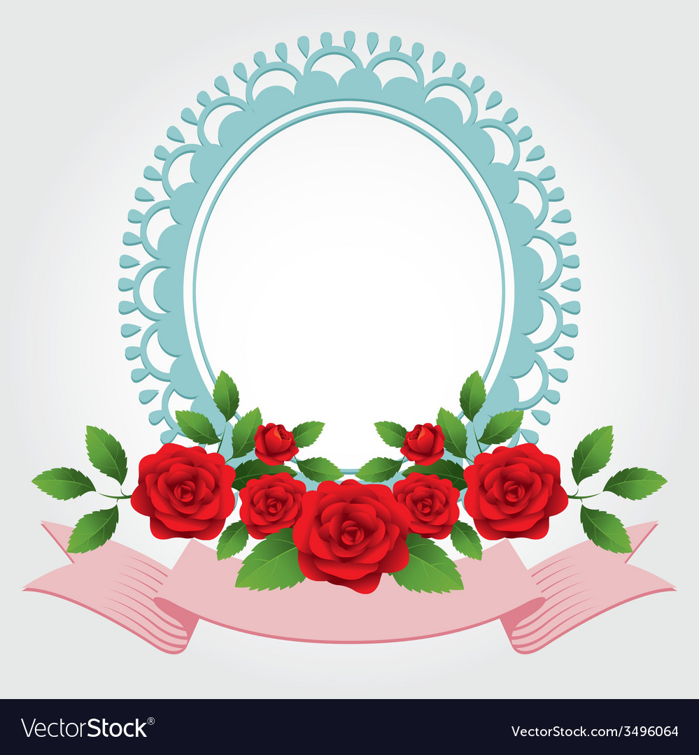 Red roses round shape frame and border vector | Price: 1 Credit (USD $1)