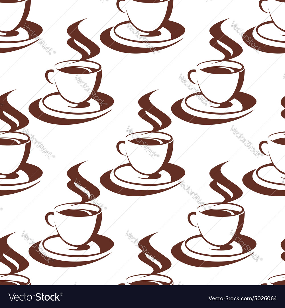 Seamless pattern of a steaming cup of coffee vector | Price: 1 Credit (USD $1)