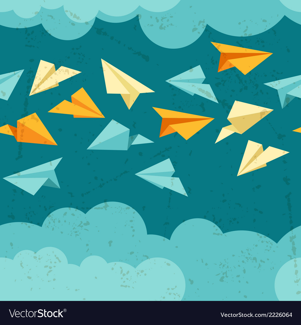 Seamless pattern of paper planes on the sky with vector | Price: 1 Credit (USD $1)