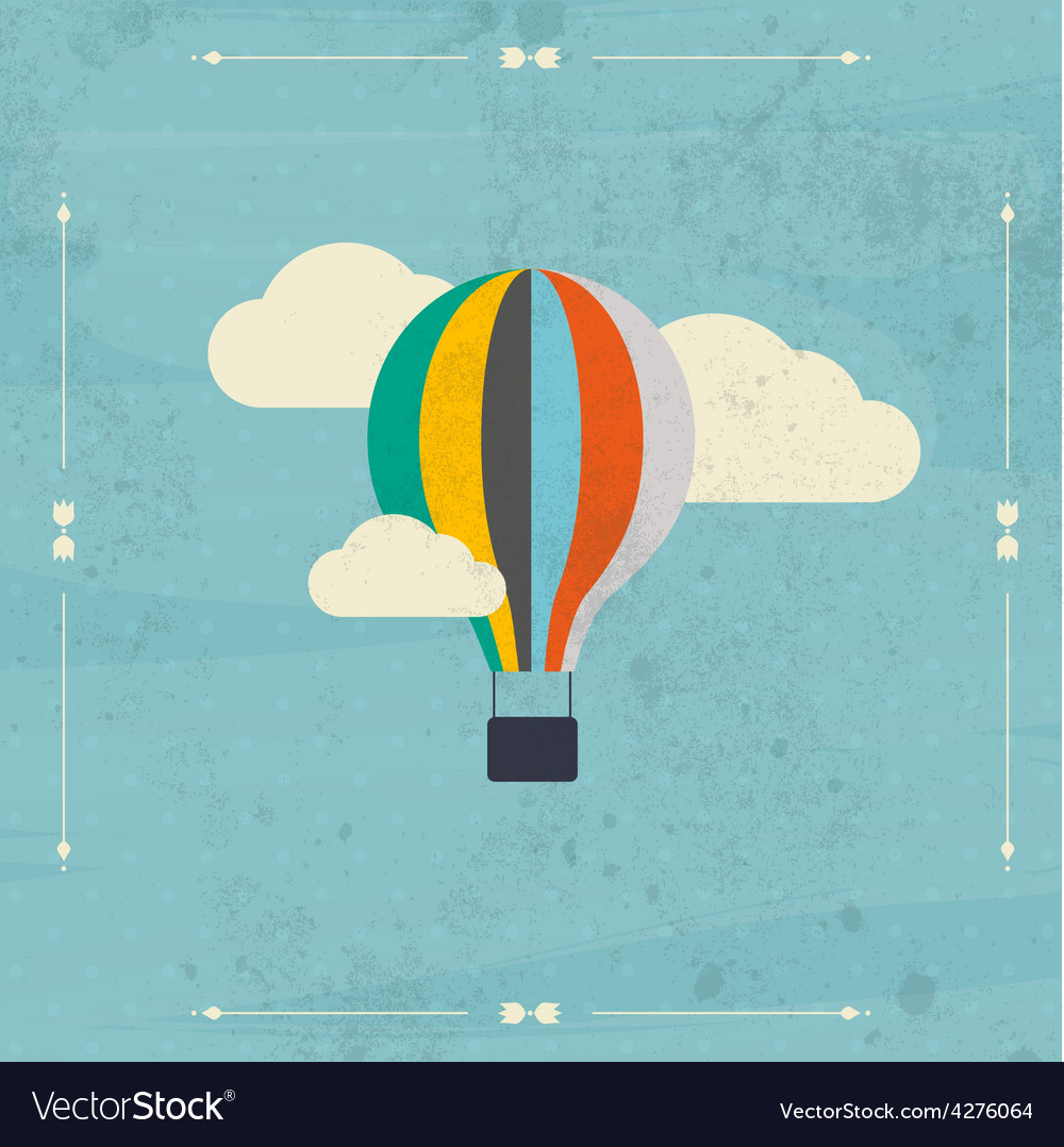 Vintage hot air balloon in the sky vector | Price: 1 Credit (USD $1)