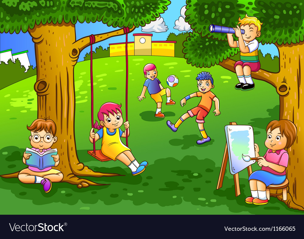 A kids playing in the garden vector | Price: 3 Credit (USD $3)