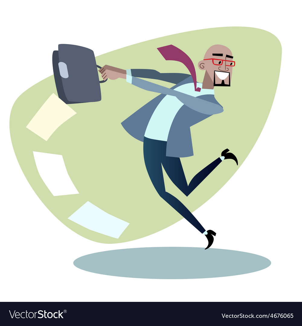 African businessman throws the briefcase with vector | Price: 1 Credit (USD $1)