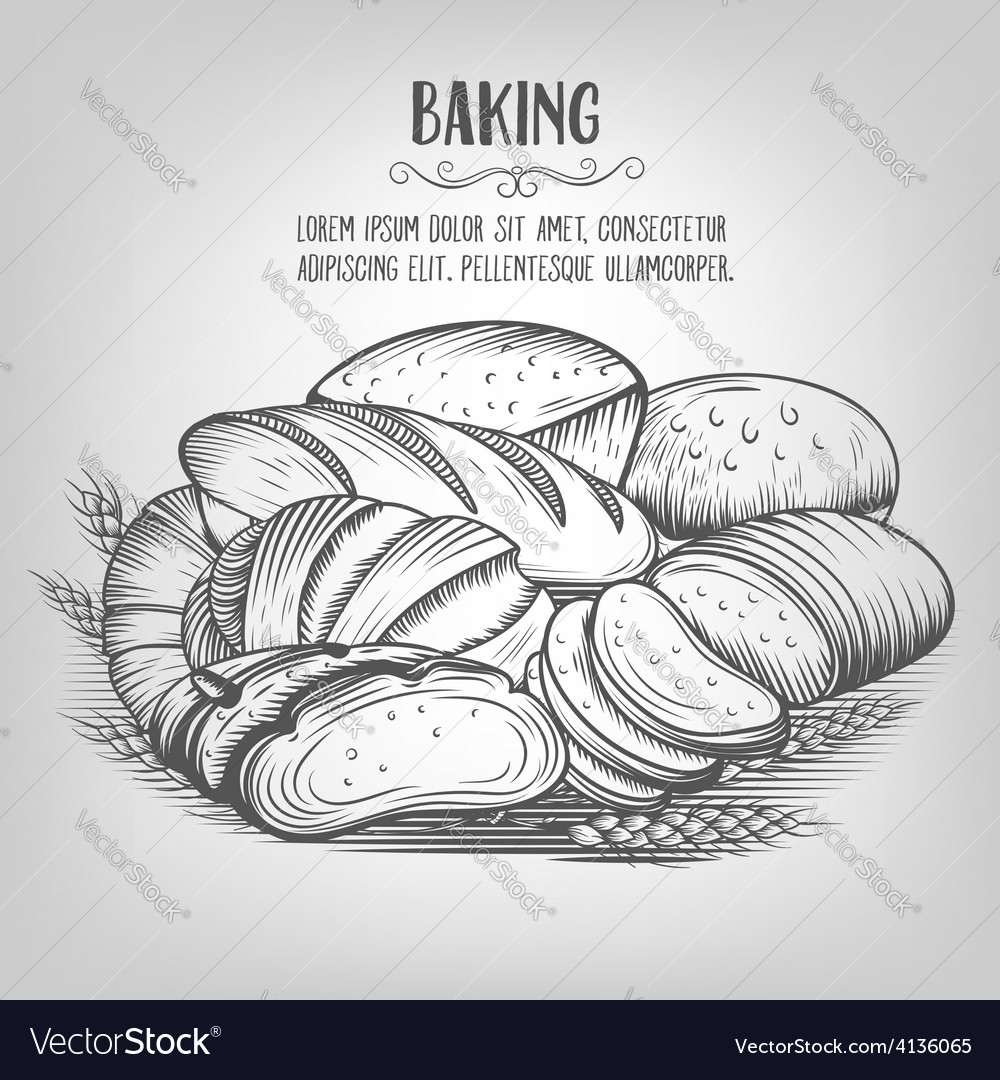 Banner baking hand drawn vector | Price: 1 Credit (USD $1)