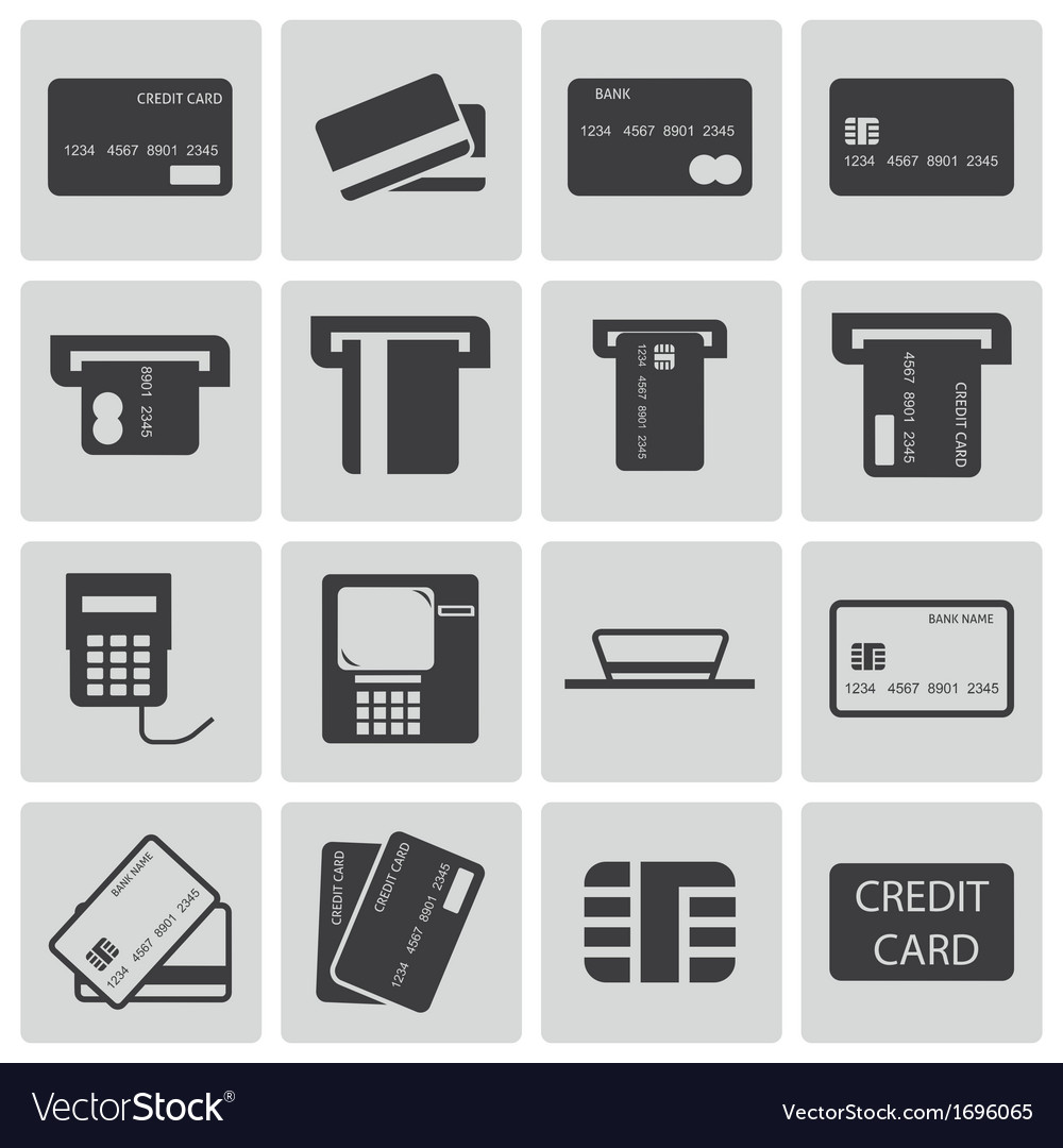 Black credit cart icons set vector | Price: 1 Credit (USD $1)