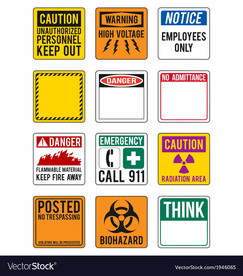 Blank safety and warning signs vector | Price: 1 Credit (USD $1)