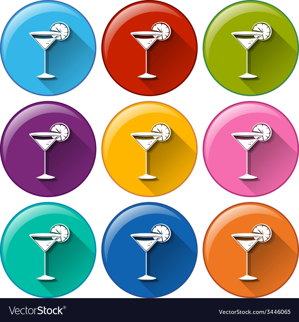 Buttons with wineglasses vector | Price: 1 Credit (USD $1)