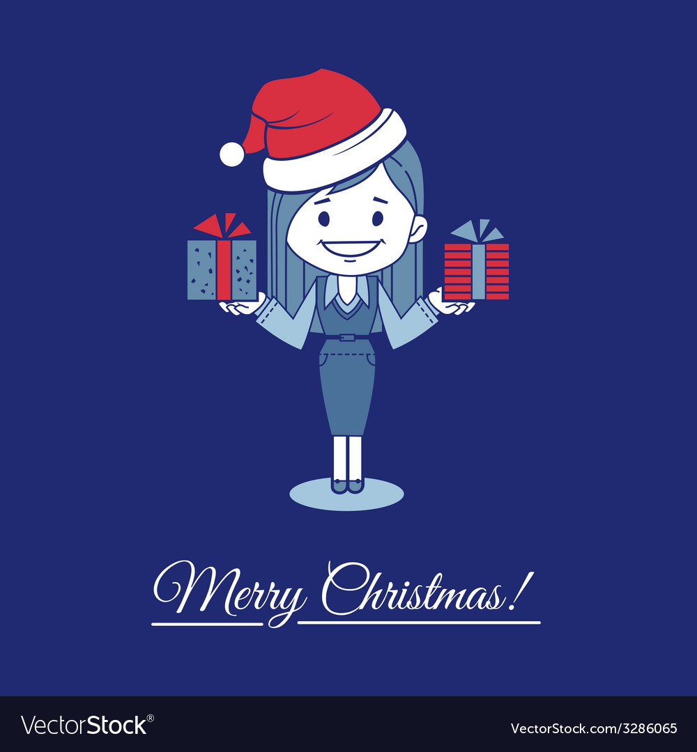 Card merry christmas with santa and gifts vector | Price: 1 Credit (USD $1)