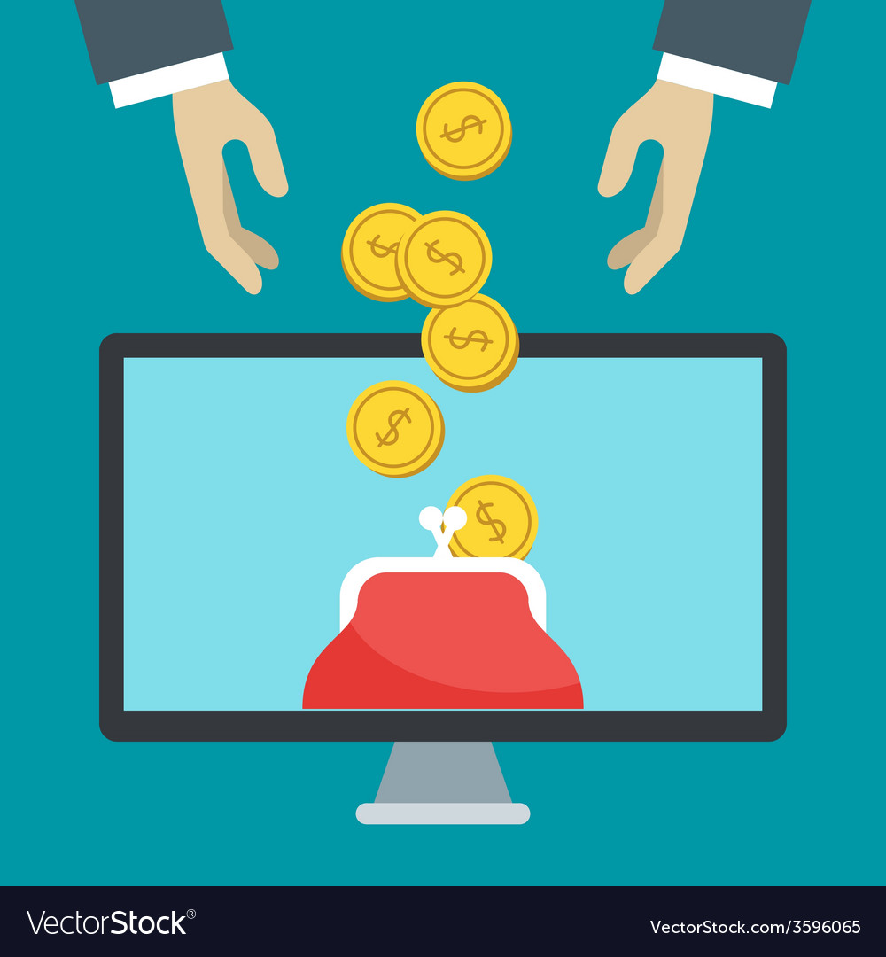 Flat design of online banking human hands a vector | Price: 1 Credit (USD $1)