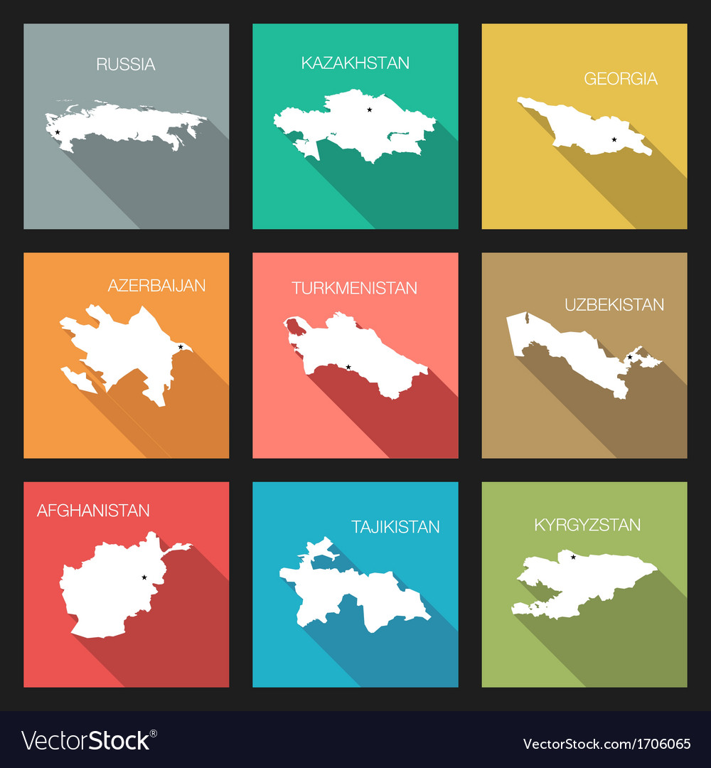 Flat icons - world countries vector | Price: 1 Credit (USD $1)