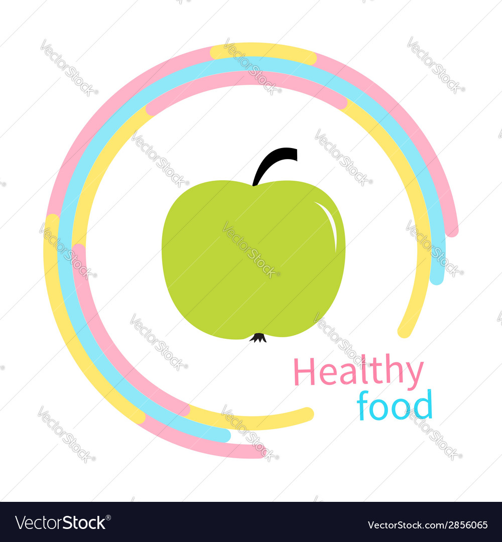 Green apple abstract round frame diet concept vector | Price: 1 Credit (USD $1)