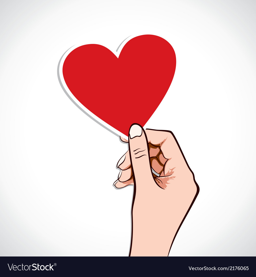 Heart shape sticker in hand vector | Price: 1 Credit (USD $1)