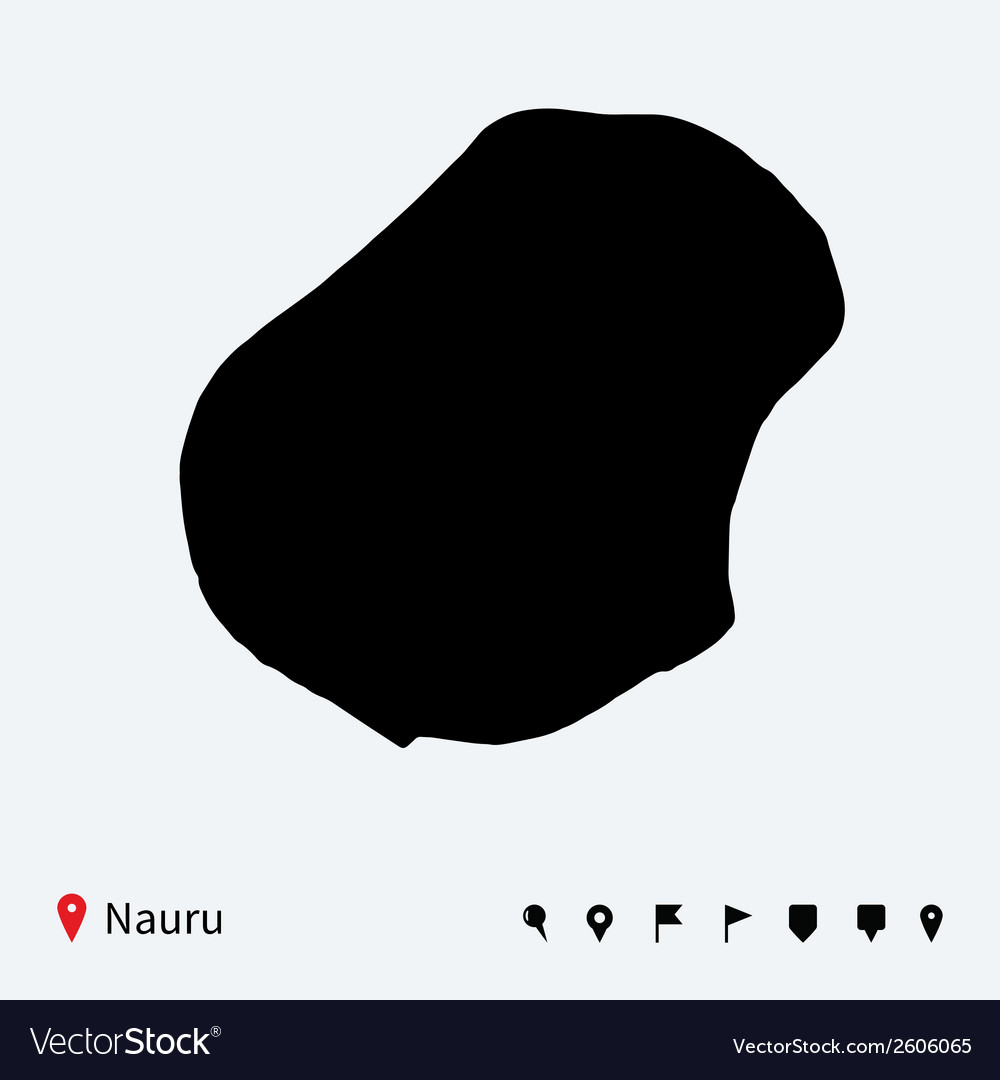 High detailed map of nauru with navigation pins vector | Price: 1 Credit (USD $1)
