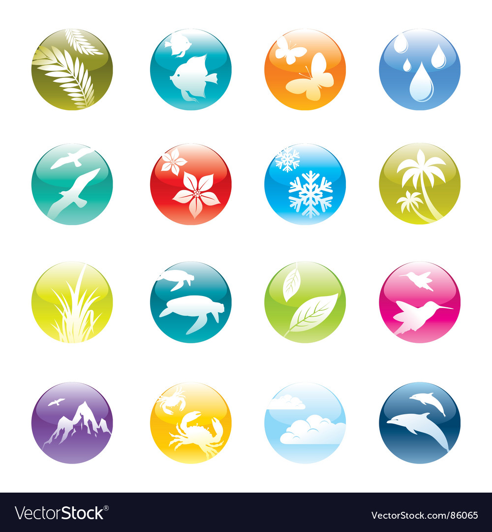 Nature and eco icon set vector | Price: 1 Credit (USD $1)