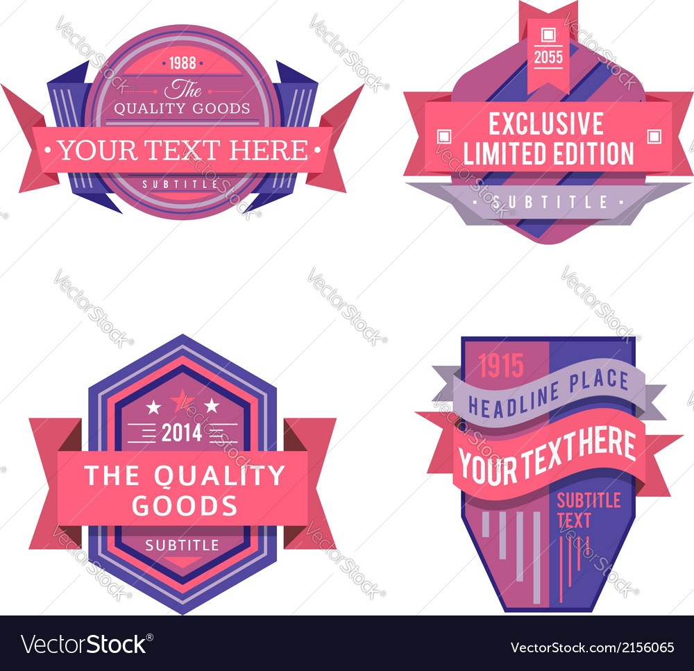 Set of logo pink retro labels and vintage vector | Price: 1 Credit (USD $1)