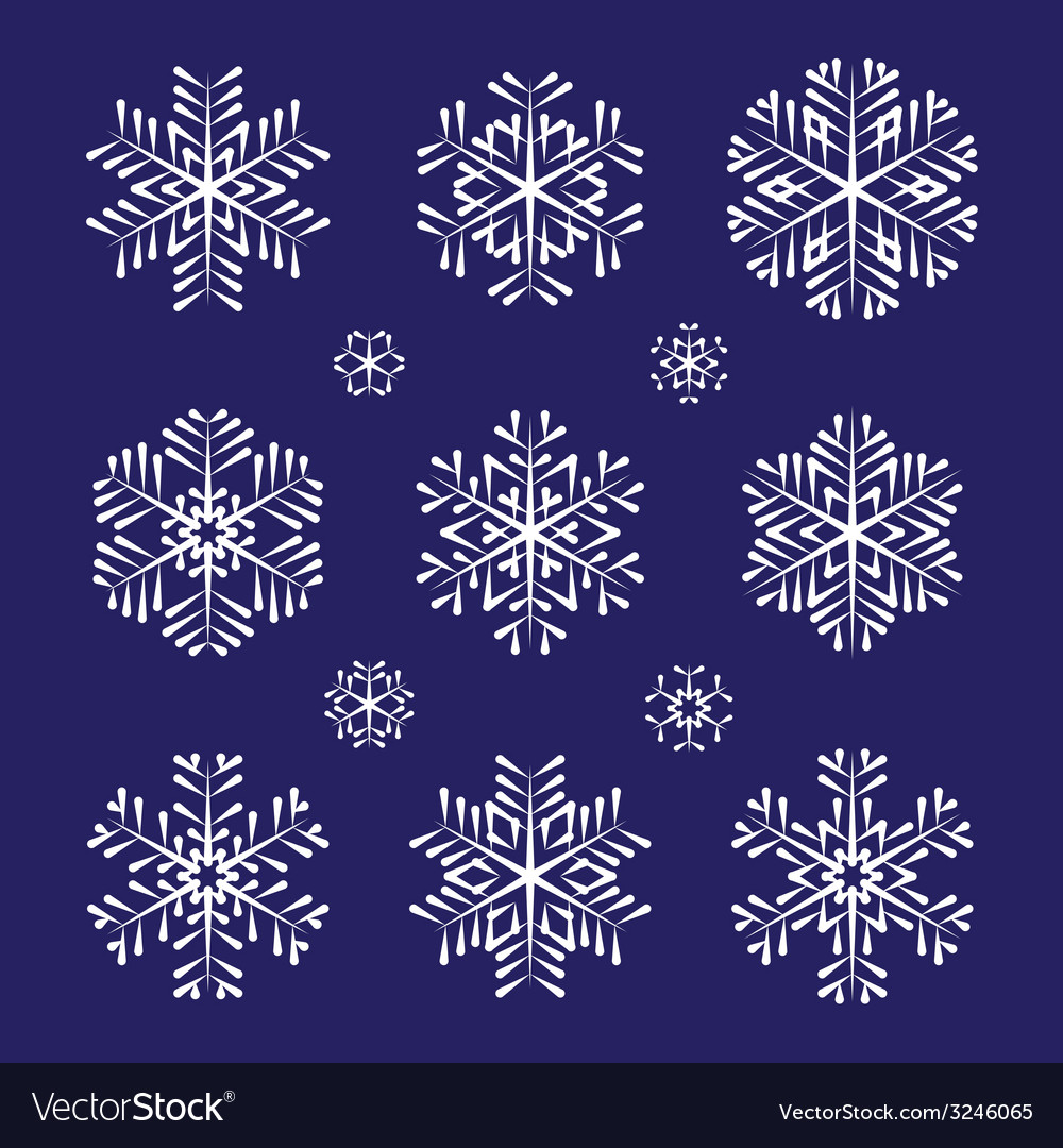 Sketch white snowflakes set vector | Price: 1 Credit (USD $1)