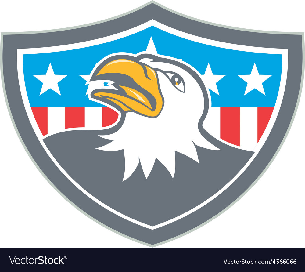 American bald eagle head flag shield cartoon vector | Price: 1 Credit (USD $1)