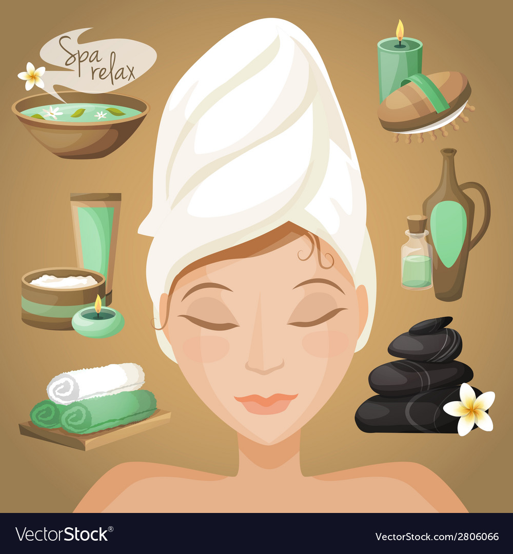 Beautiful woman in spa vector | Price: 1 Credit (USD $1)