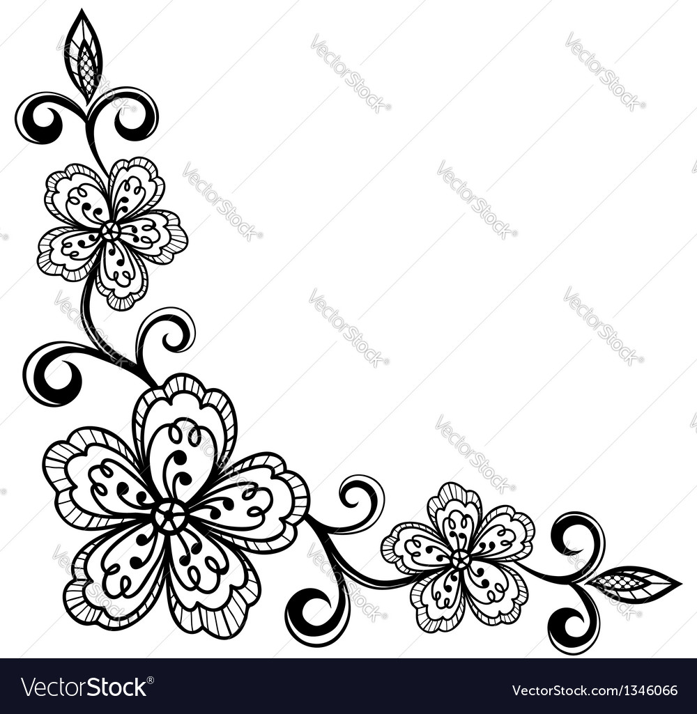 Corner ornamental lace flowers black and white vector | Price: 1 Credit (USD $1)