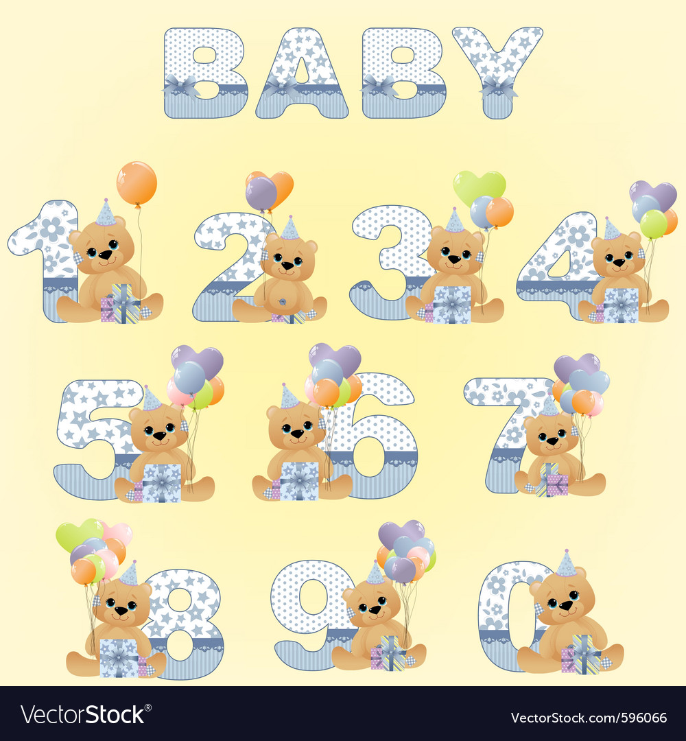 Cute baby birthday digits vector | Price: 1 Credit (USD $1)