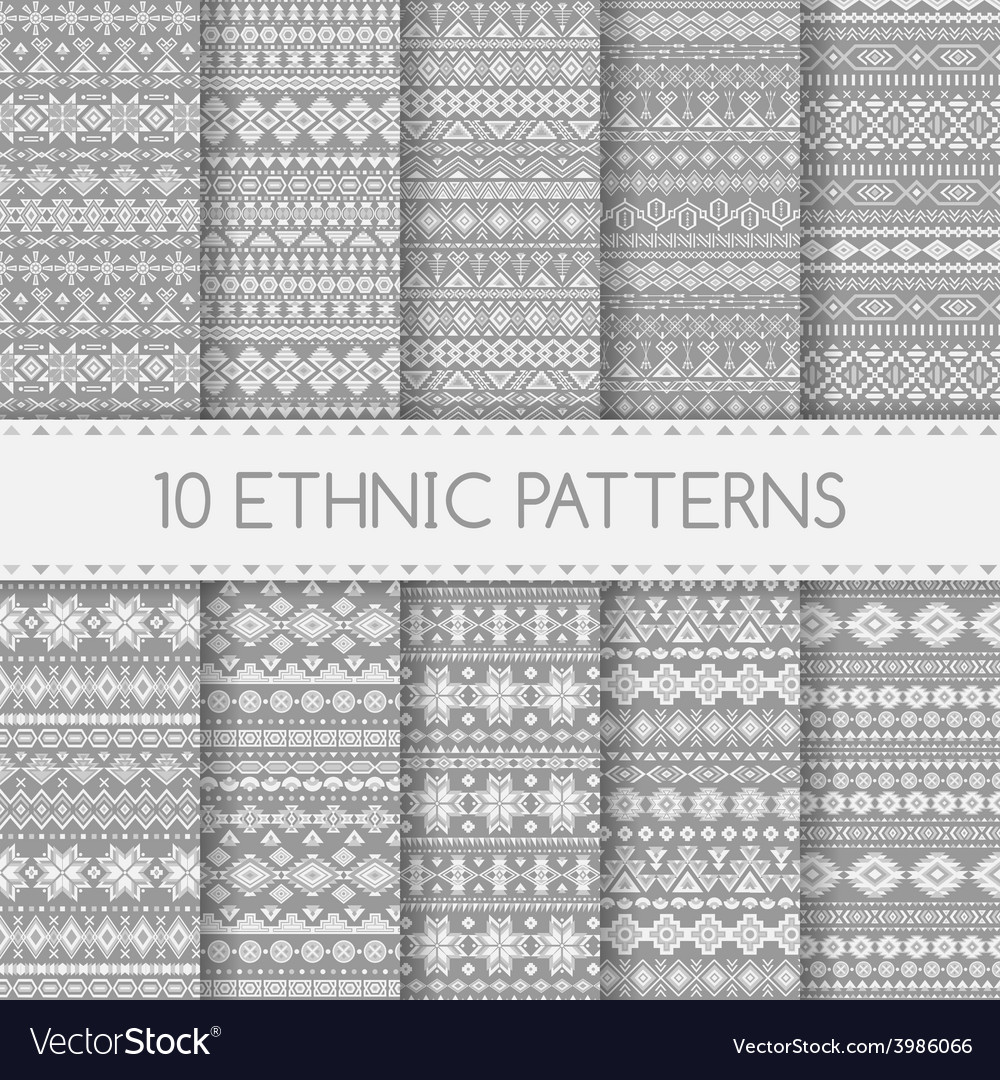 Ethnic seamless patterns vector | Price: 1 Credit (USD $1)