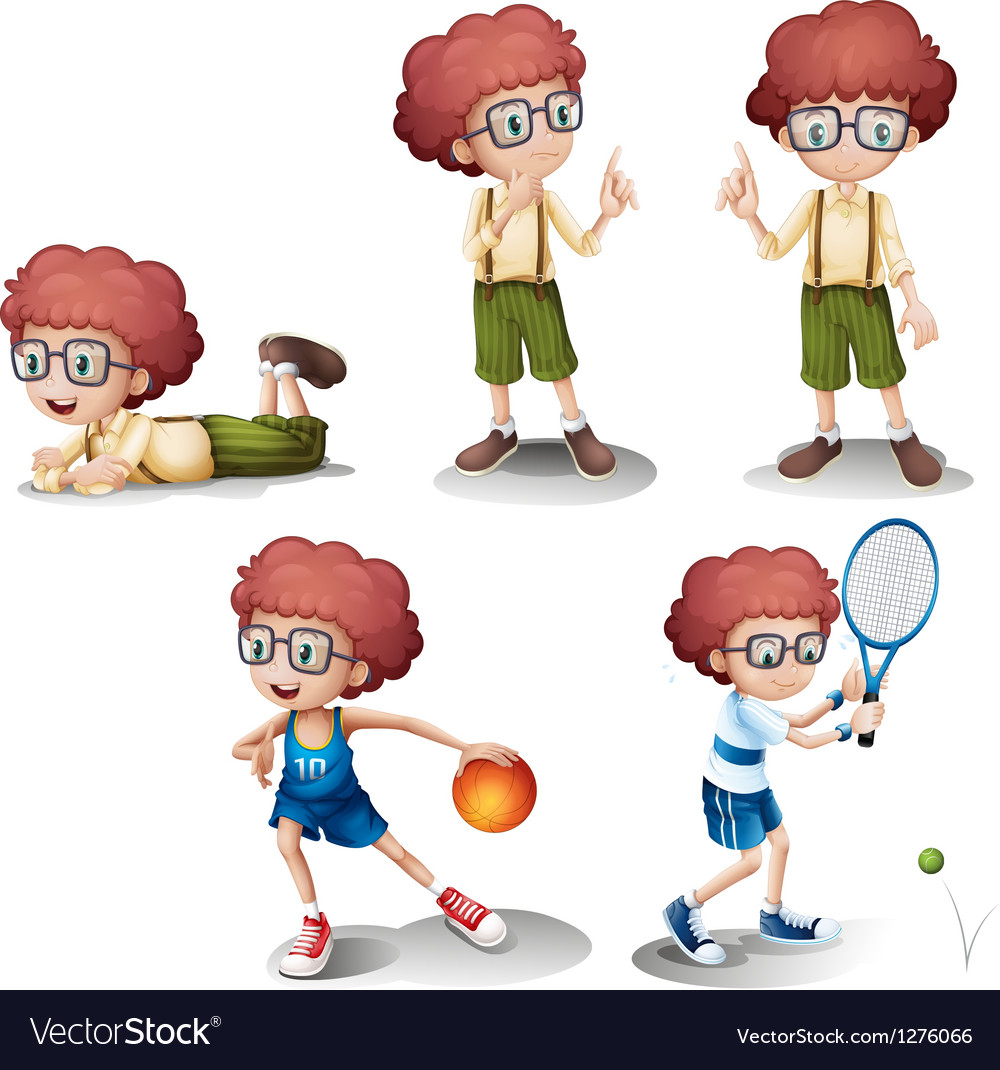 Five different activities of a young boy vector | Price: 1 Credit (USD $1)