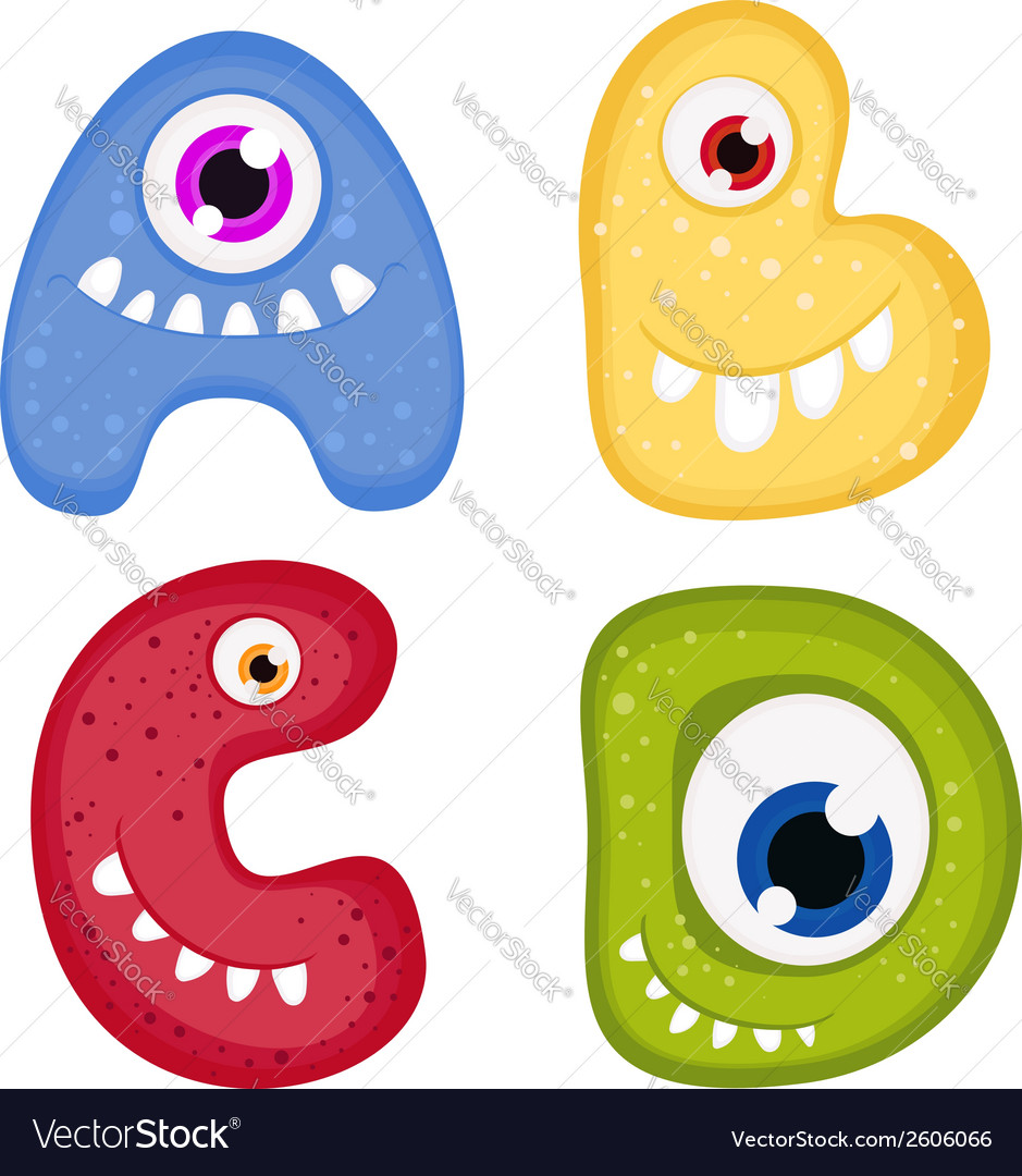 Funny toothy monster alphabet from a to d vector   Price: 1 Credit (USD $1)